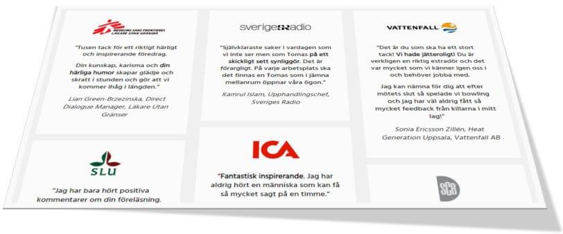 """Ett utsnitt från sidan """"Våra nöjda kunder"""" på sajten arbetsgladje.se."""